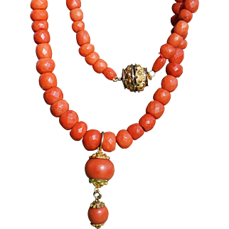 Antique Faceted Coral Necklace With Coral Pendant