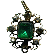 Georgian Pendant With Green Paste Stone