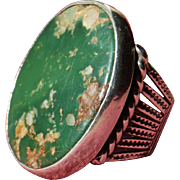 Large Early Cerrillos Turquoise Ring