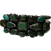 Navajo Fox Turquoise Cluster Bracelet