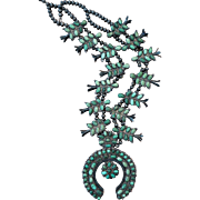 Vintage Green Turquoise Squash Blossom Necklace