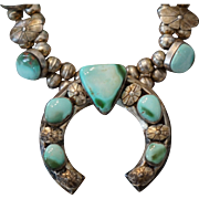 Vintage Royston Turquoise Squash Blossom Necklace