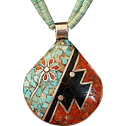Double Sided Inlaid Pendant Necklace