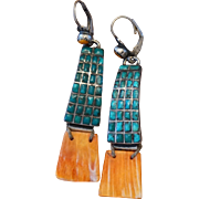 Vintage Inlaid Turquoise and Spiny Oyster Earrings
