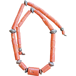 Vintage Coral Trade Bead Necklace With Mercury Dime Beads