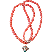 Coral Necklace With  Etruscan Revival Pendant