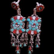 Vintage Zuni Sun Face Earrings
