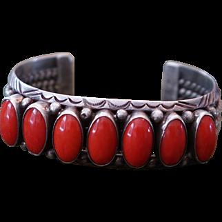 Coral Row Cuff Bracelet