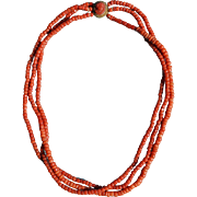 Georgian Coral Necklace With Carved Coral Cameo Clasp