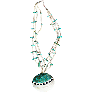 Vintage Inlay Shell Pendant With Heishi And Turquoise Tabs
