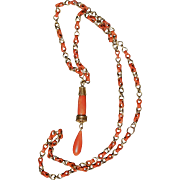 Coral Chain Link Necklace With Coral Drop Charm