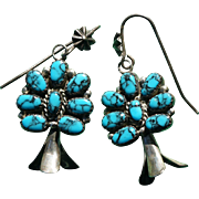 Vintage Godber Turquoise Squash Blossom Earrings
