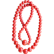 Sardinian Red Coral Bead Necklace