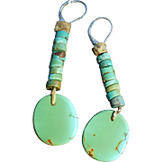 Vintage Turquoise Heishi Slab Earrings