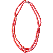 Antique Mediterranean Coral Trade Bead Necklace With Coral Clasp