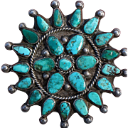 Vintage Turquoise Cluster Pin