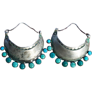 Early Turquoise Hoop Style Earrings