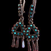 Vintage Zuni Petit Point Turquoise Earrings