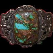 1930's  Tonopah Turquoise Heavy Cuff Bracelet