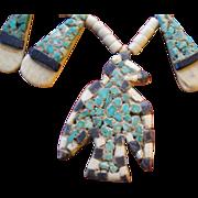 Santa Domingo Pueblo Depression Era Thunderbird Inlay Necklace
