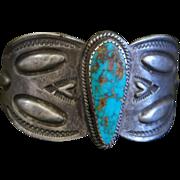 Early Ingot Bracelet With Turquoise