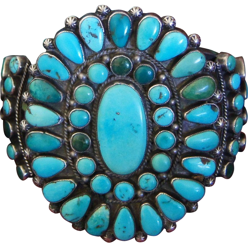 Native American Turquoise Cluster Bracelet
