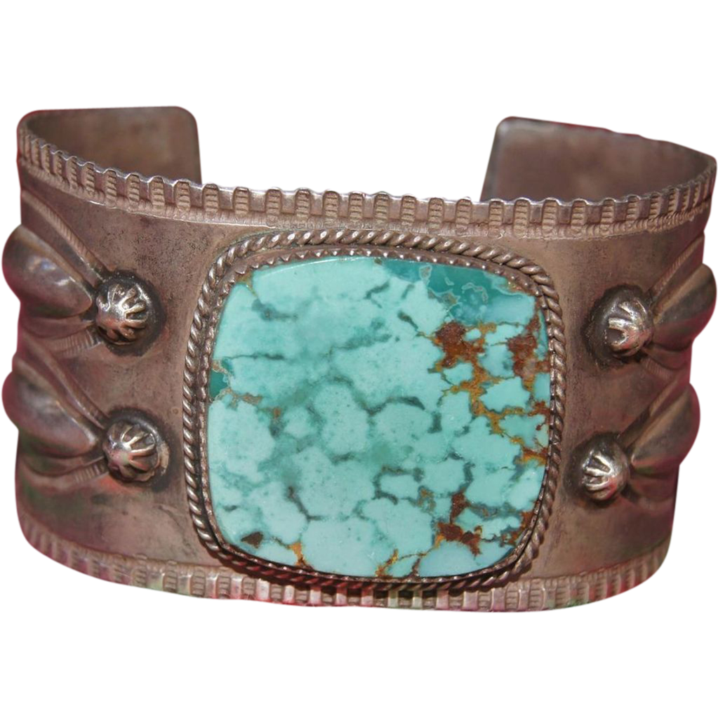 Cuff Bracelet With Lavender Pit Bisbee Natural Turquoise