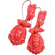 Victorian Carved Coral Earrings
