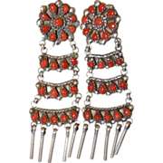 Navajo Coral Ladder Earrings By Jim Yazzie