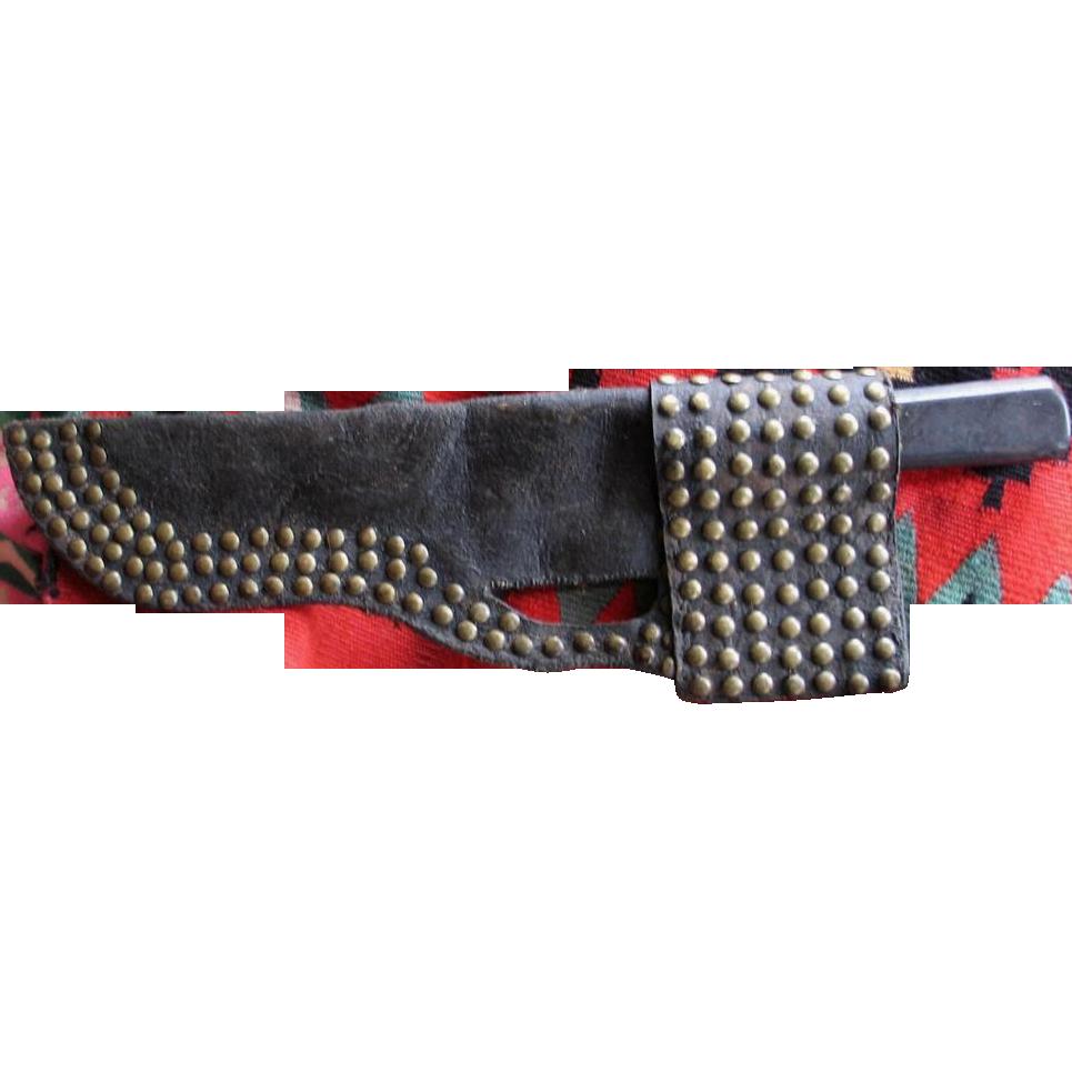Northern Plains Buffalo Hide Tacked Knife Sheath