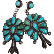 Large Vintage Squash Blossom Earrings