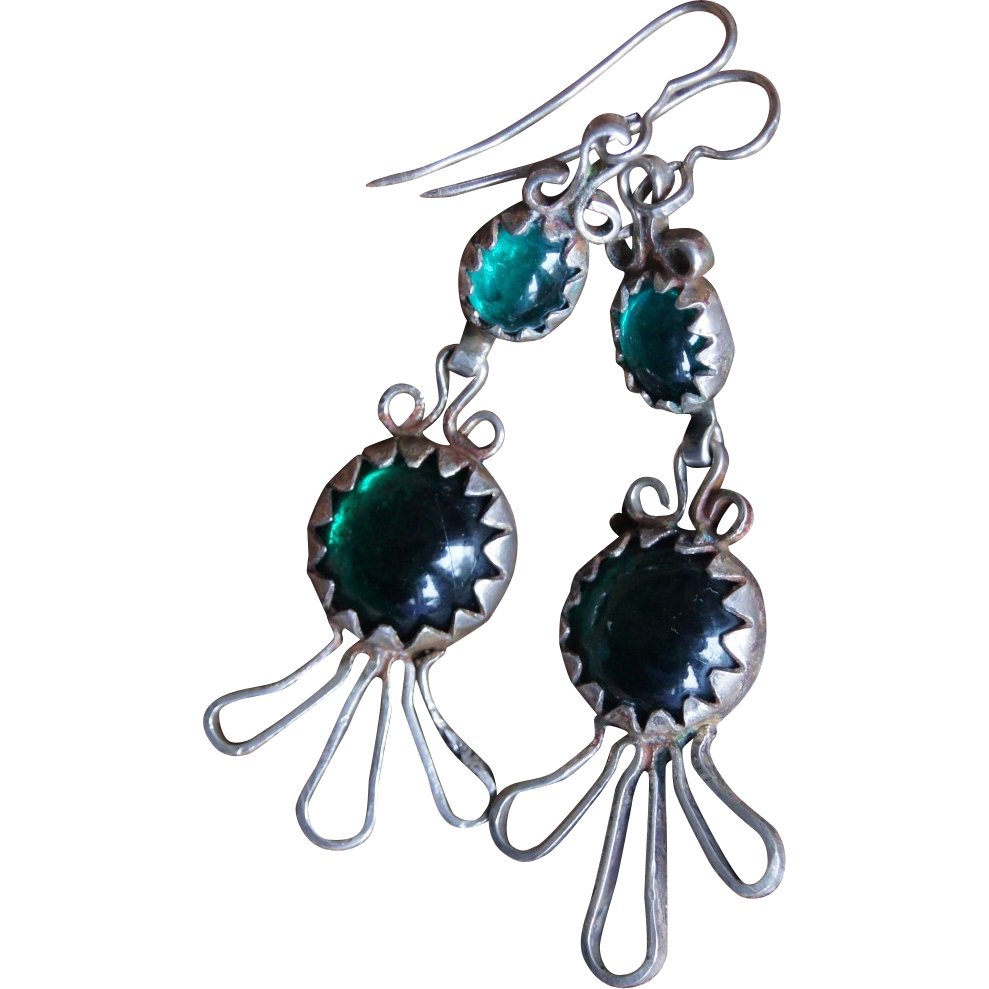 Spanish Colonial Foil Backed Green Glass Earrings