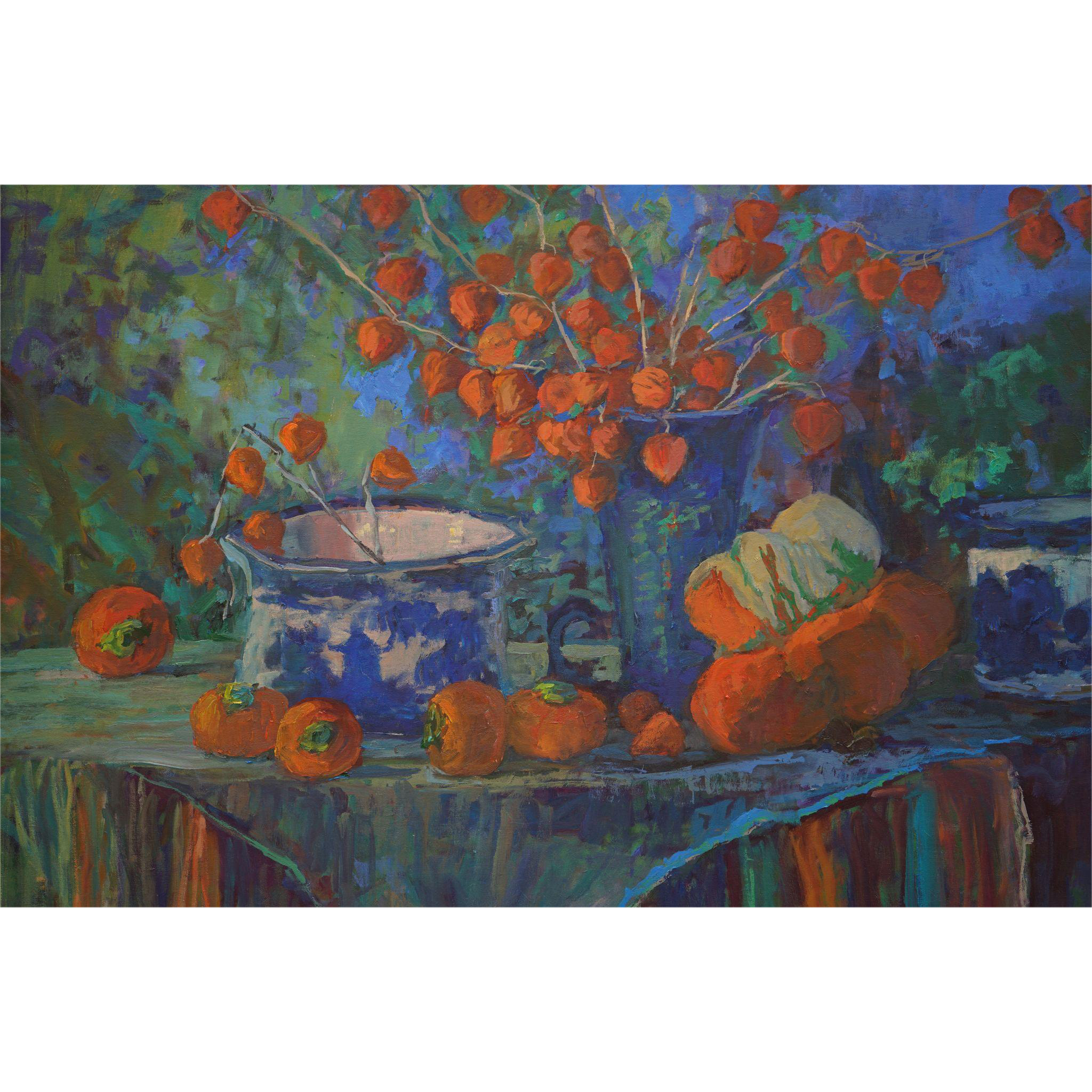 Still Life Painting With Turban Squash and Chinese Lantern