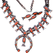 Vintage Navajo Sand Cast Coral Squash Blossom Necklace With Matching Earrings