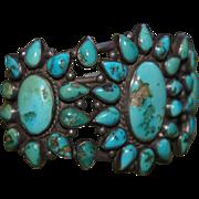 Navajo Cluster Bracelet  Blue Gem Turquoise Star Burst Bracelet