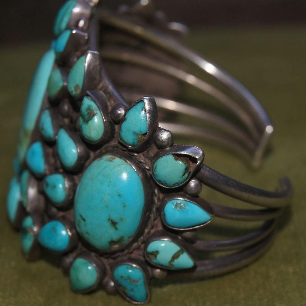 Navajo Cluster Bracelet Blue Gem Turquoise Star Burst