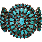 Ornate Navajo 1930's Cluster Bracelet With Tonapah Turquoise