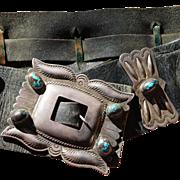Navajo Large Size Bisbee Turquoise Third Phase Concho Belt