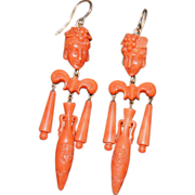 Victorian Coral Bacchantes Earrings With Carved Urns, Grapes and Leaves