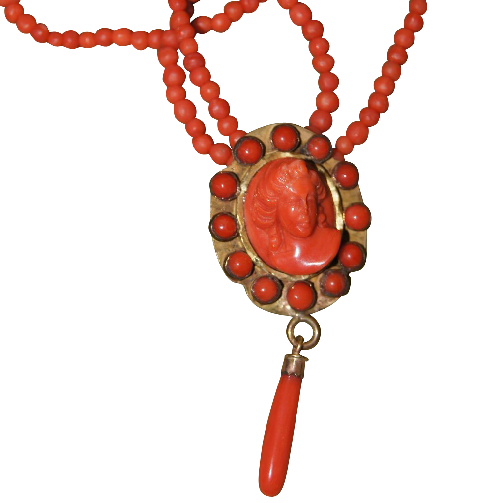 Vintage Coral Cameo With Coral Drop Necklace