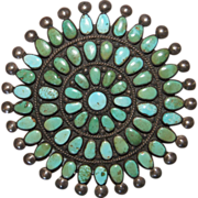 Vintage Zuni Cerrillos Turquoise Cluster Pin