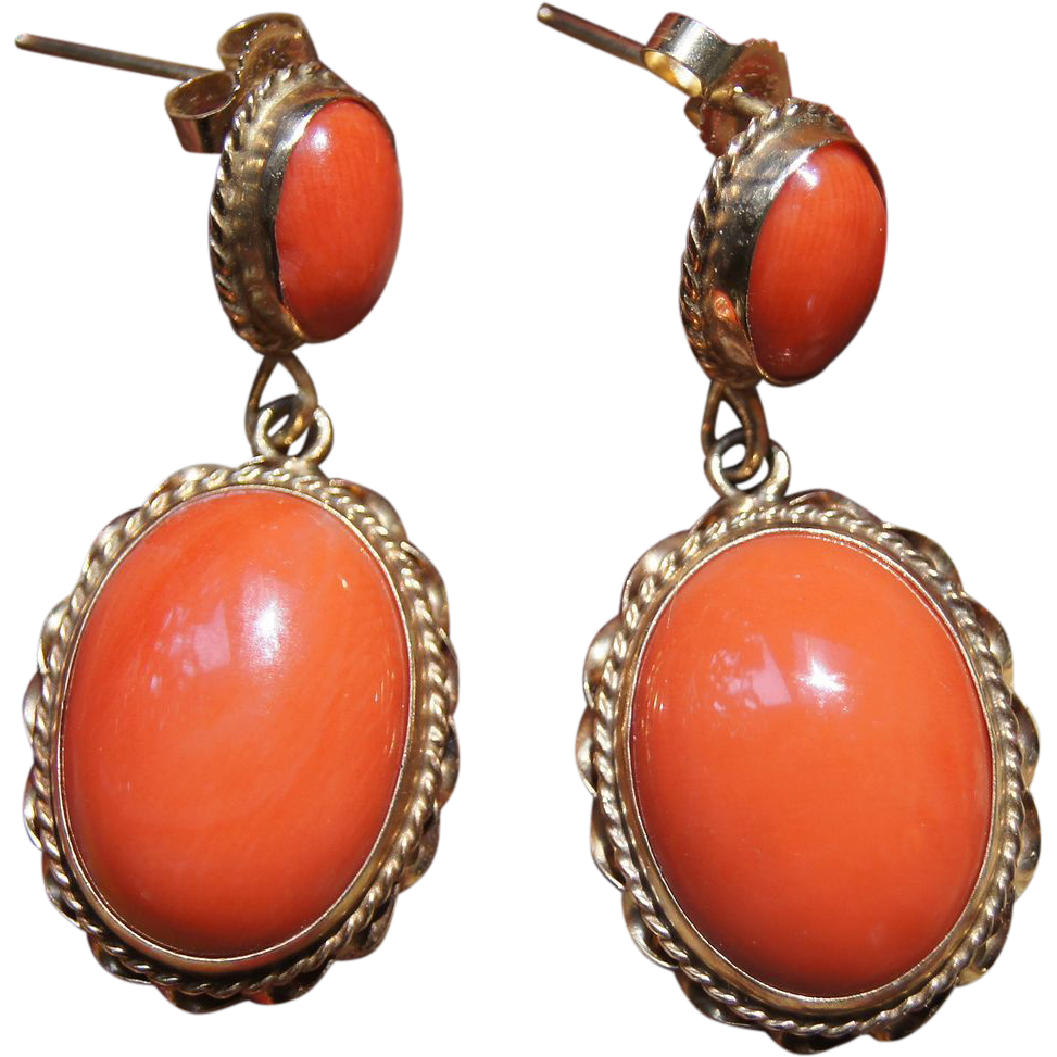 Vintage Coral Earrings From Uchizonogallery On Ruby Lane