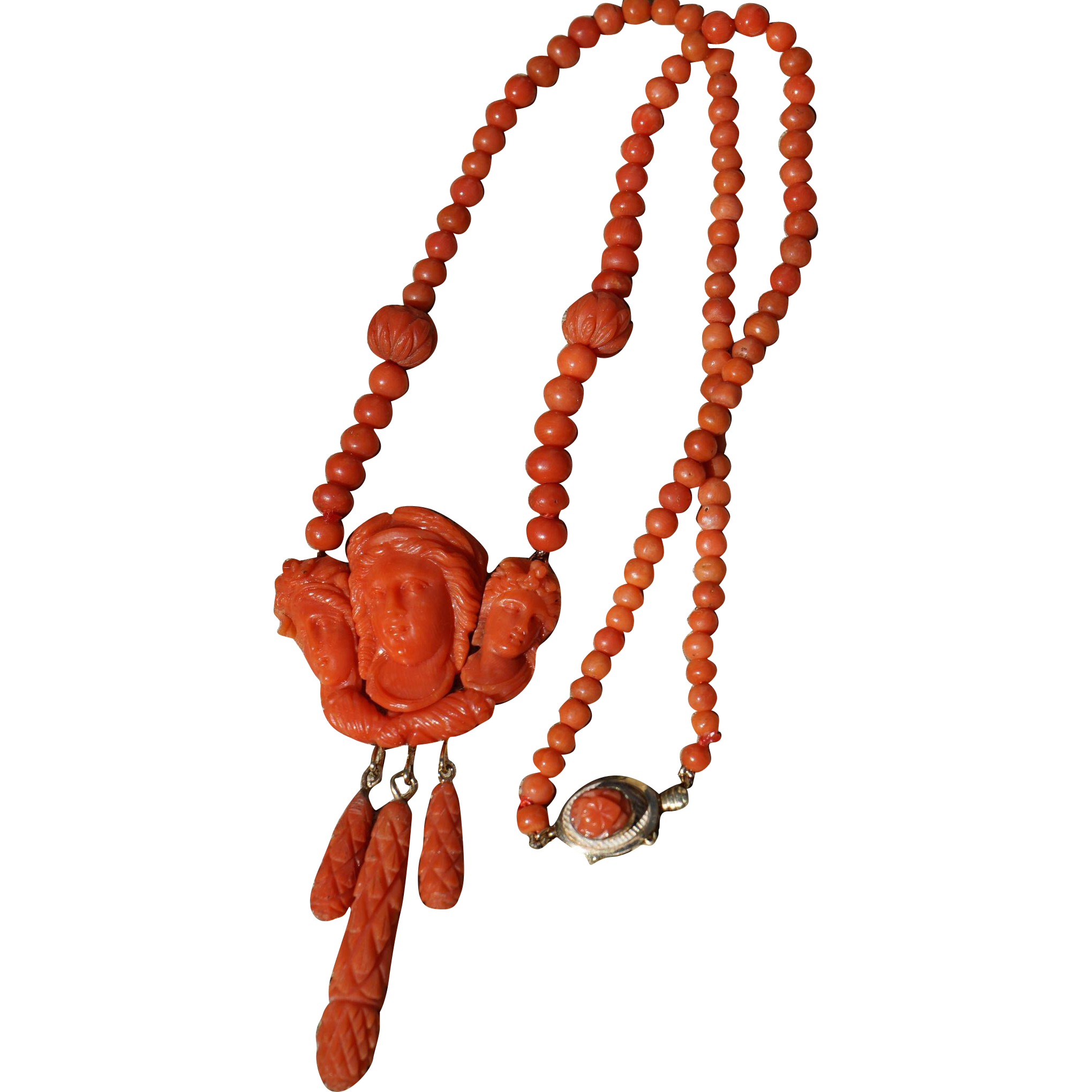 Carved Coral Pendant of The Three Graces Necklace