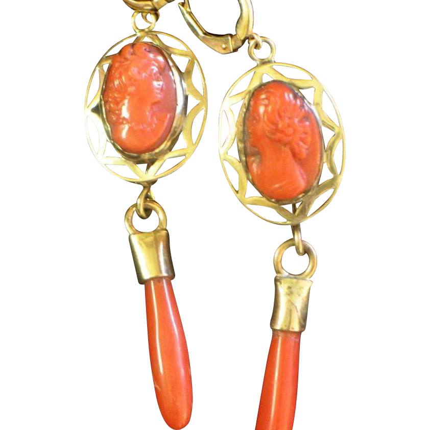 Vintage Coral Cameo Drop Earrings
