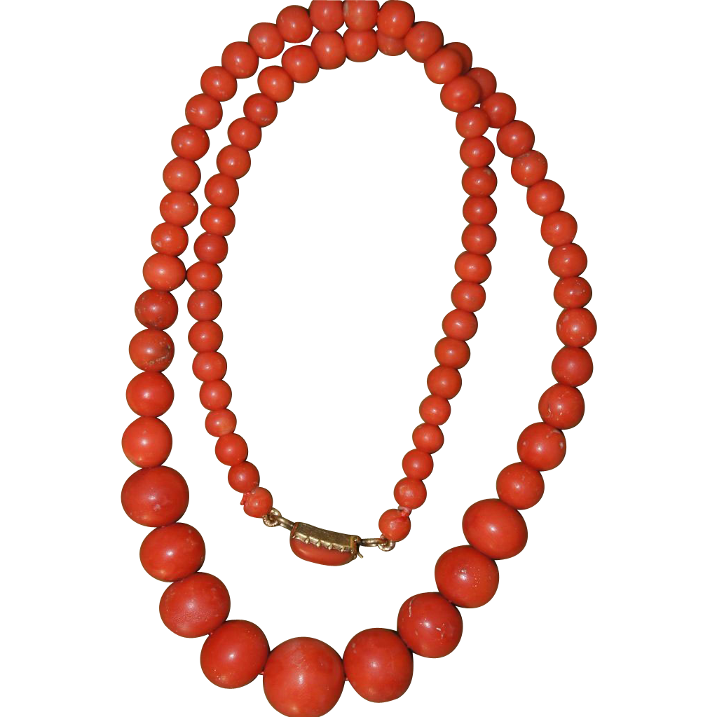 Victorian Coral Necklace w/Coral Clasp and 12mm Center Coral Bead