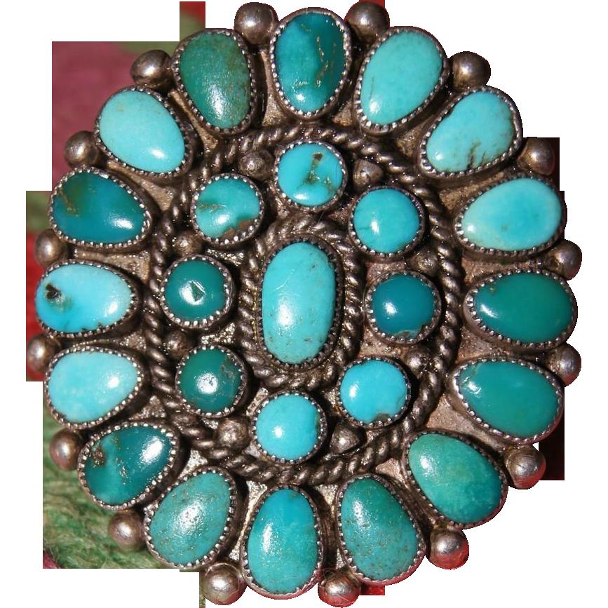 Vintage Zuni Turquoise Cluster Ring Uchizono Gallery Llc
