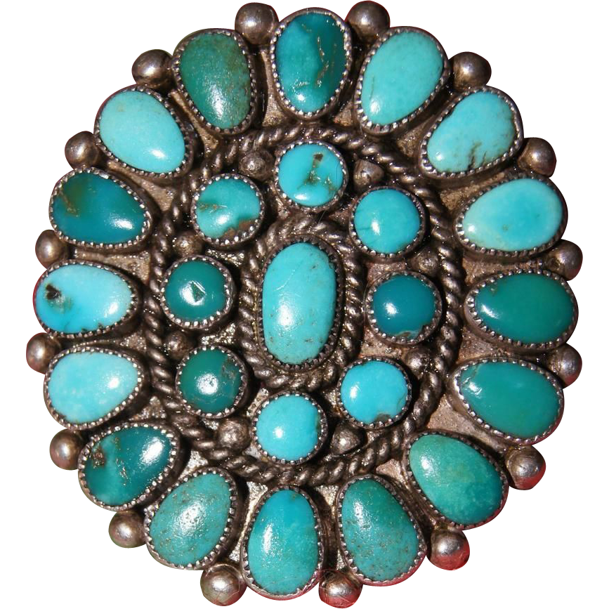 Vintage Zuni Turquoise Cluster Ring From Uchizonogallery