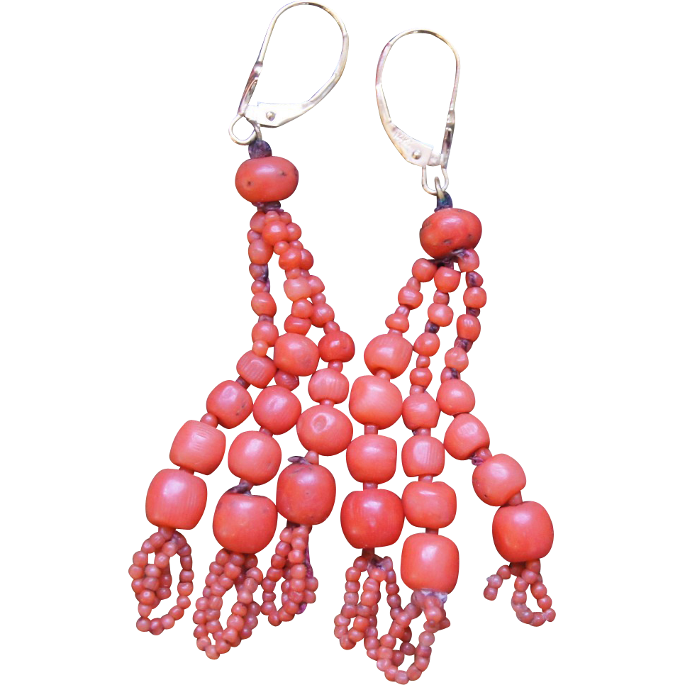 Victorian Coral Tassel Earrings