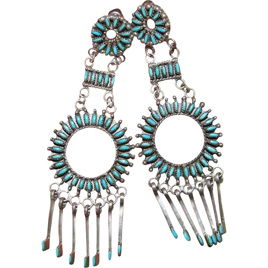 Vintage Zuni  Needlepoint Turquoise Earrings