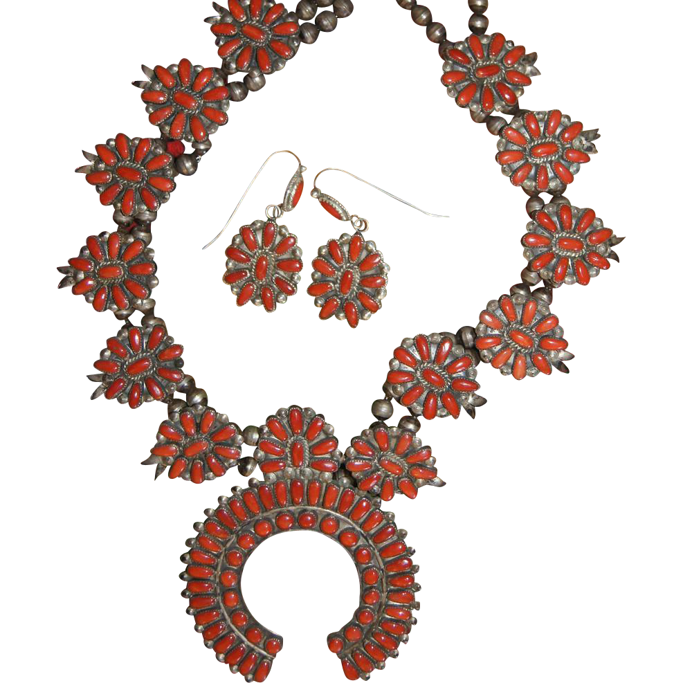 Vintage  Coral Squash Blossom Necklace and Earrings